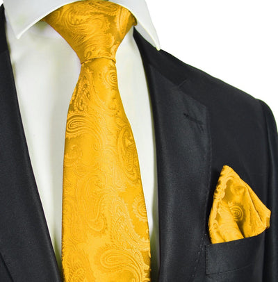 Gold Paisley Necktie and Pocket Square Paul Malone Ties - Paul Malone.com