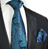 Metallic Blue Paisley Necktie and Pocket Square Paul Malone Ties - Paul Malone.com
