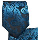 Metallic Blue Paisley Necktie and Pocket Square Ties Paul Malone