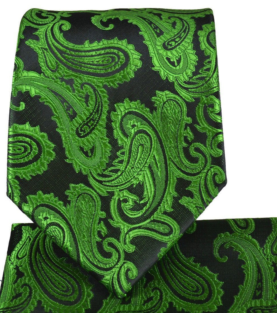 Antique Green and Black Paisley Necktie and Pocket Square