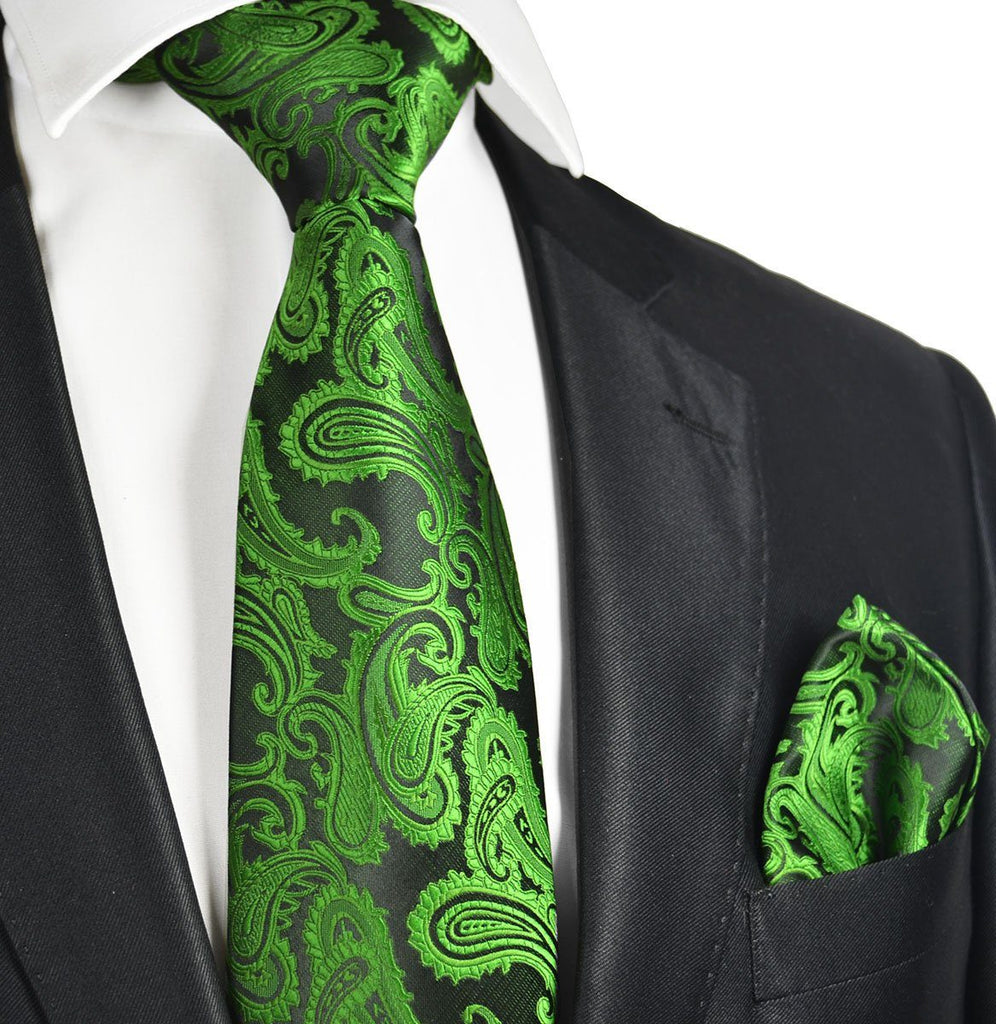 Antique Green and Black Paisley Necktie and Pocket Square Paul Malone Ties - Paul Malone.com