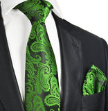 Antique Green and Black Paisley Necktie and Pocket Square Ties Paul Malone