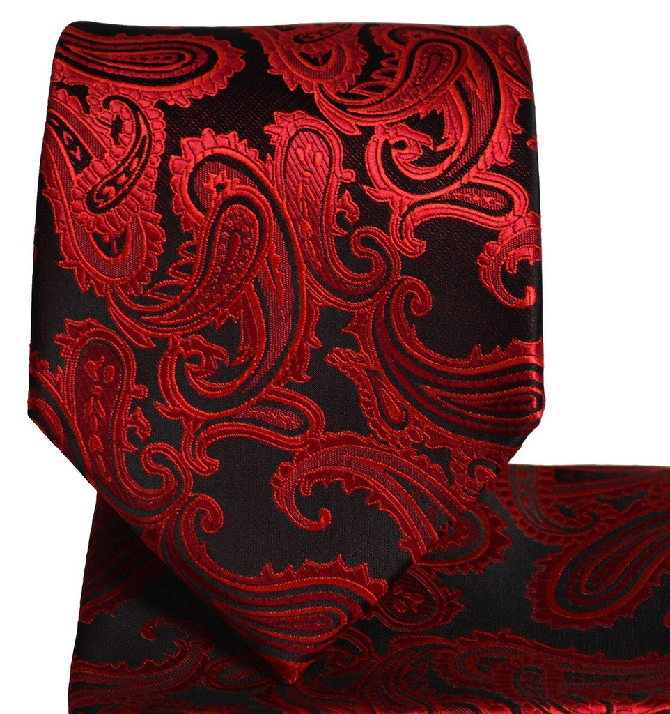 Red and Black Paisley Necktie and Pocket Square Paul Malone Ties - Paul Malone.com