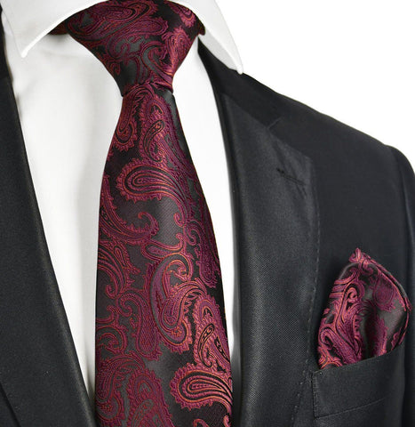 Black and Burgundy Paisley Bow Tie Set