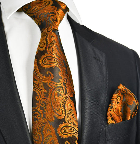 Black, Orange and Cream Paisley Necktie and Pocket Square