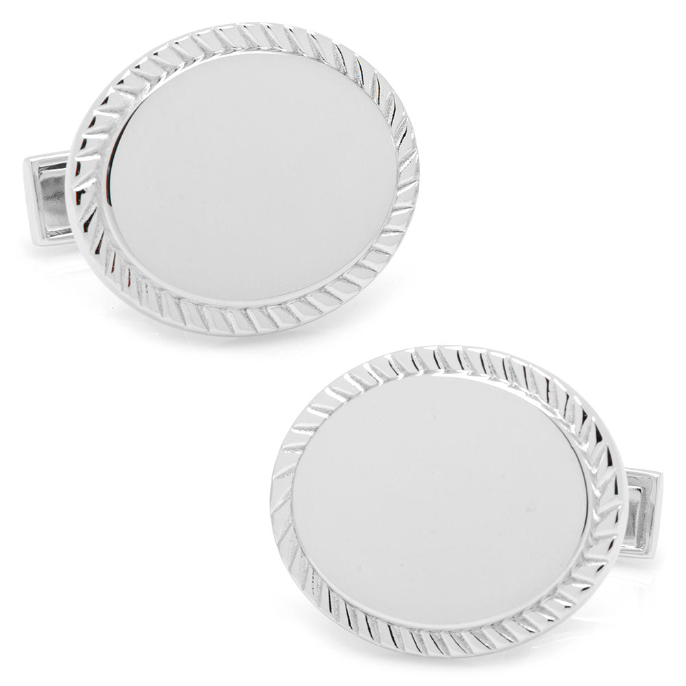 Sterling Silver Rope Border Oval Engravable Cufflinks Ox & Bull Cufflinks - Paul Malone.com