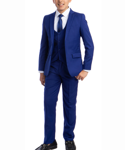 Solid Royal Blue Boys Suit Set with Vest, Tie and Shirt Perry Ellis Suits - Paul Malone.com