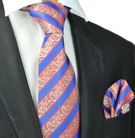 True Red Striped Knit Tie by Paul Malone