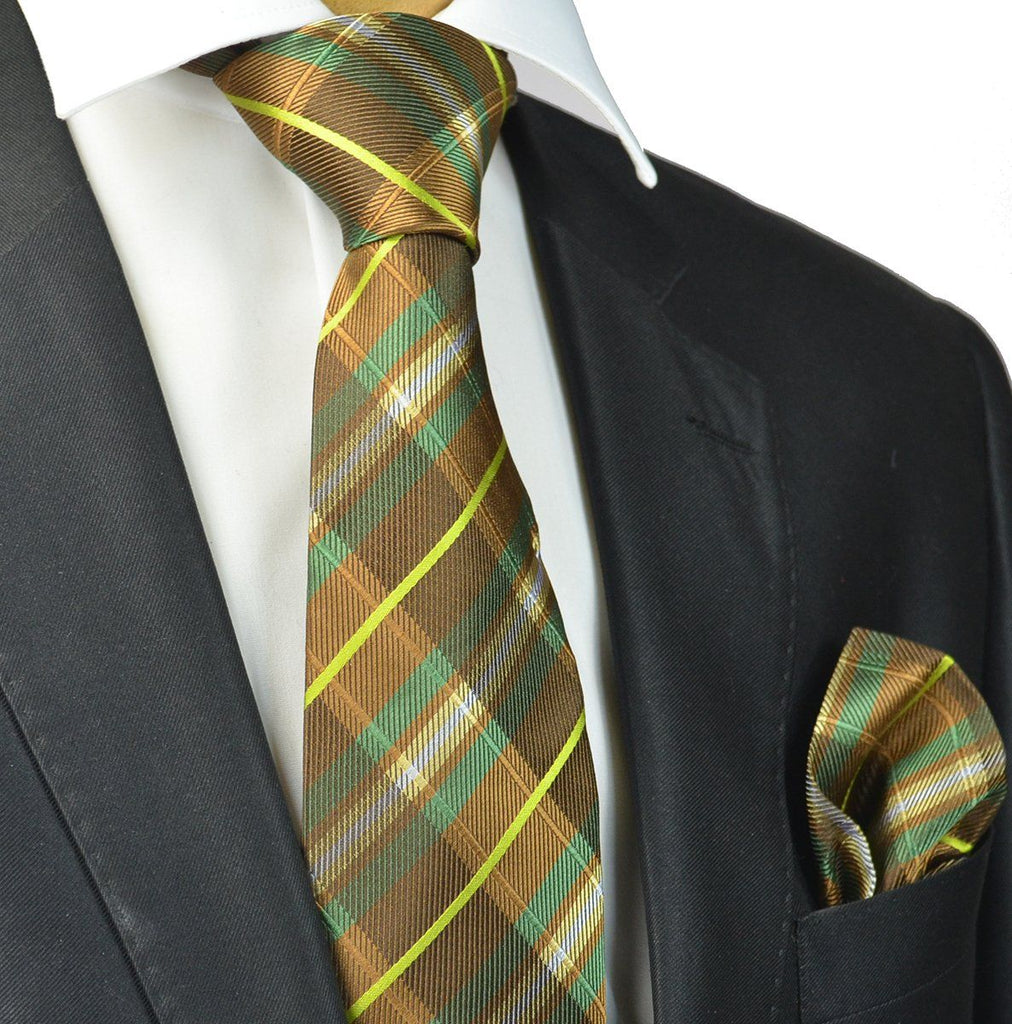 Green and Brown Plaid Silk Tie and Pocket Square Paul Malone Ties - Paul Malone.com