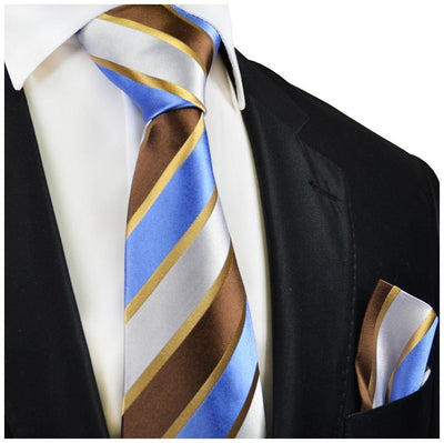 Brown and Blue Striped Silk Tie and Pocket Square Paul Malone Ties - Paul Malone.com