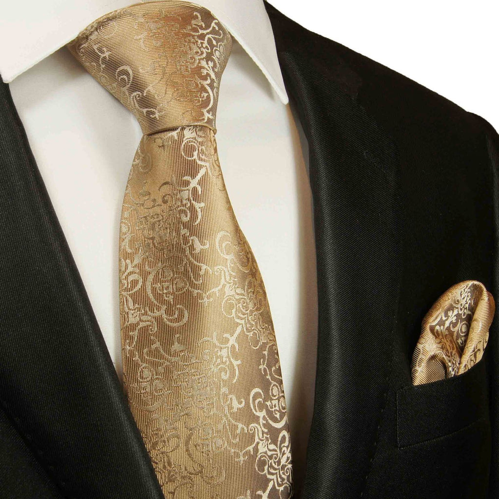 Taupe Vines Silk Tie and Pocket Square Paul Malone Ties - Paul Malone.com