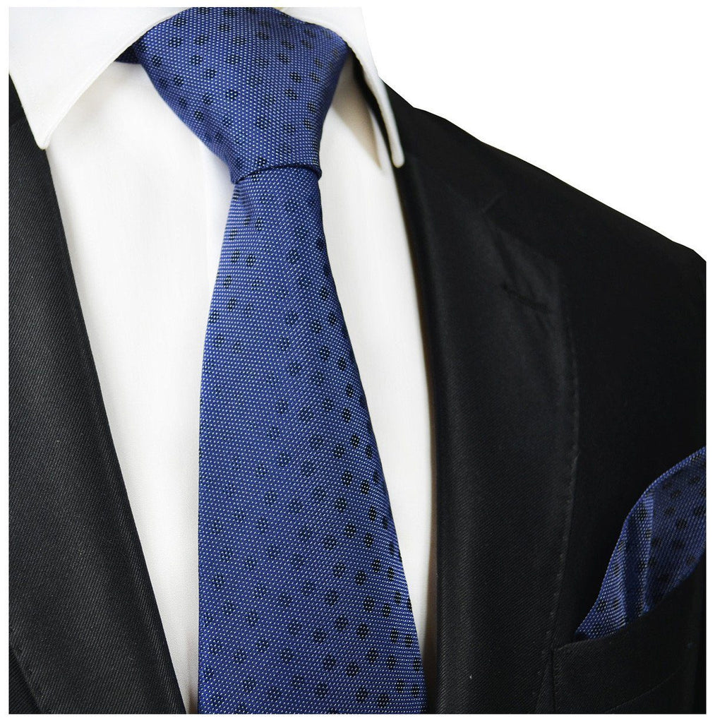 Navy Polka Dot Silk Tie and Pocket Square Paul Malone Ties - Paul Malone.com