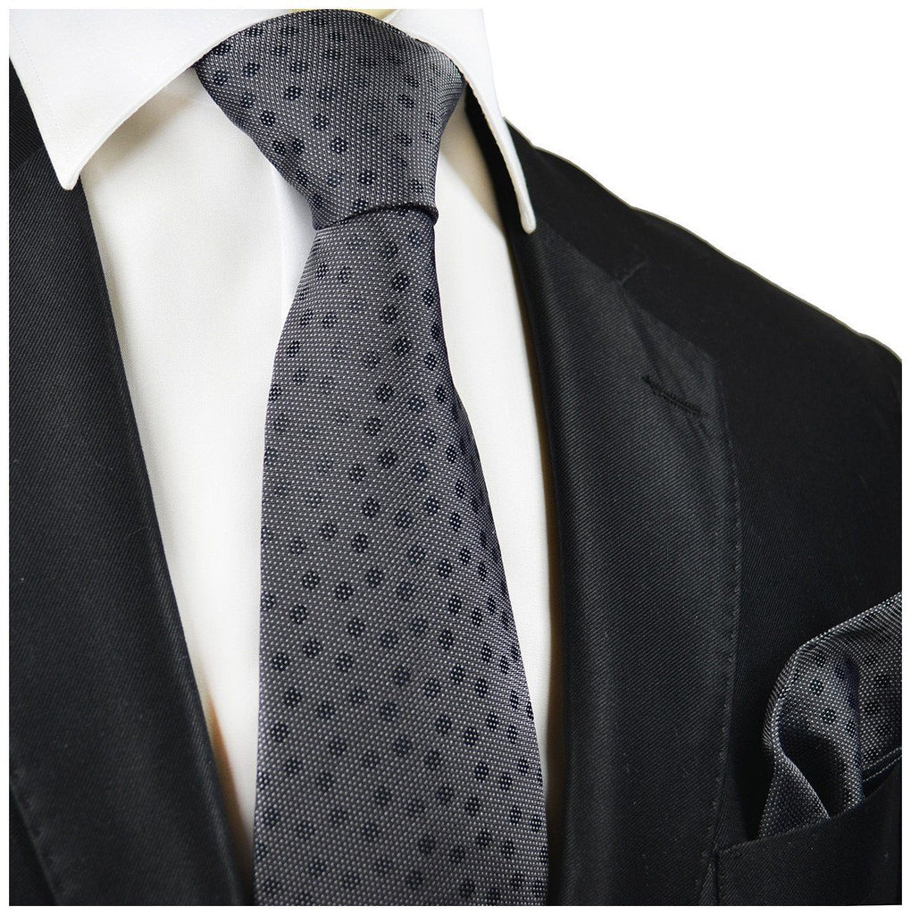 Charcoal Polka Dot Silk Tie and Pocket Square Paul Malone Ties - Paul Malone.com