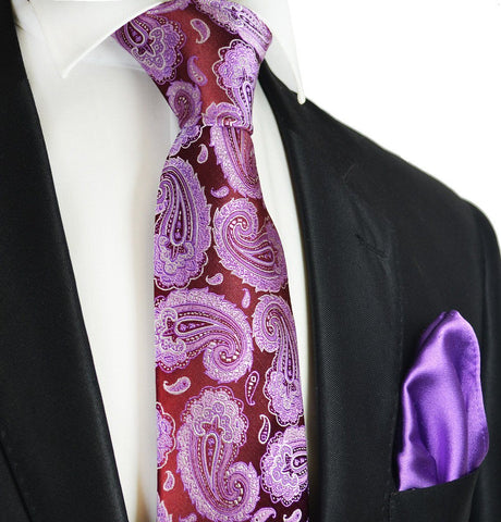 Red, Pink and Yellow Paisley 7-fold Silk Tie Set