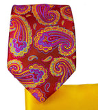 Red, Pink and Yellow Paisley 7-fold Silk Tie Set Paul Malone Ties - Paul Malone.com