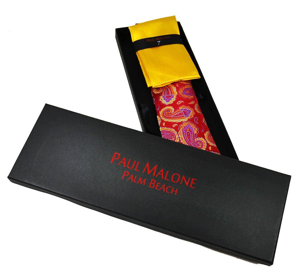 Red, Pink and Yellow Paisley 7-fold Silk Tie Set Ties Paul Malone