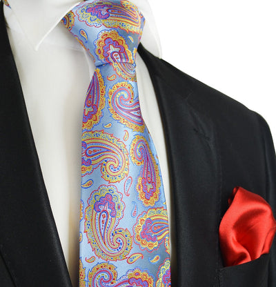 Light Blue Paisley 7-fold Silk Tie and Pocket Square Paul Malone Ties - Paul Malone.com