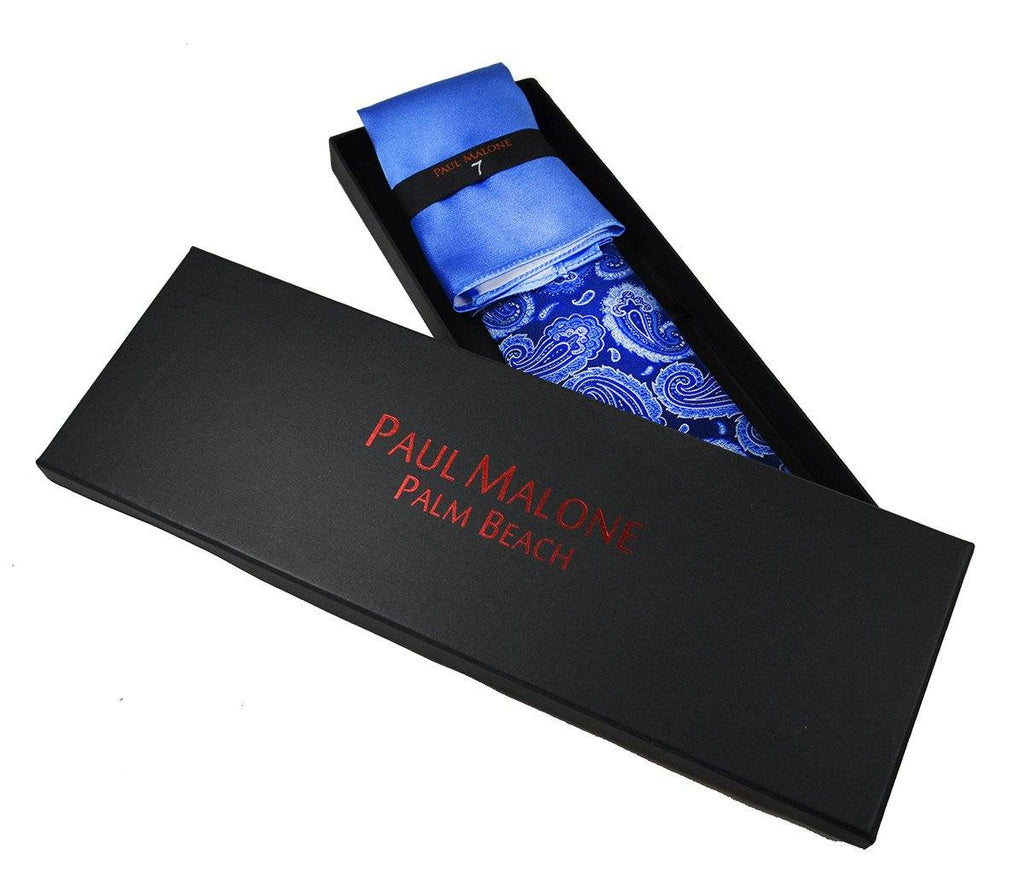 Blue Paisley 7-fold Silk Tie and Pocket Square Paul Malone Ties - Paul Malone.com