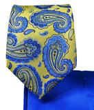 Gold and Blue Paisley 7-fold Silk Tie Set Paul Malone Ties - Paul Malone.com