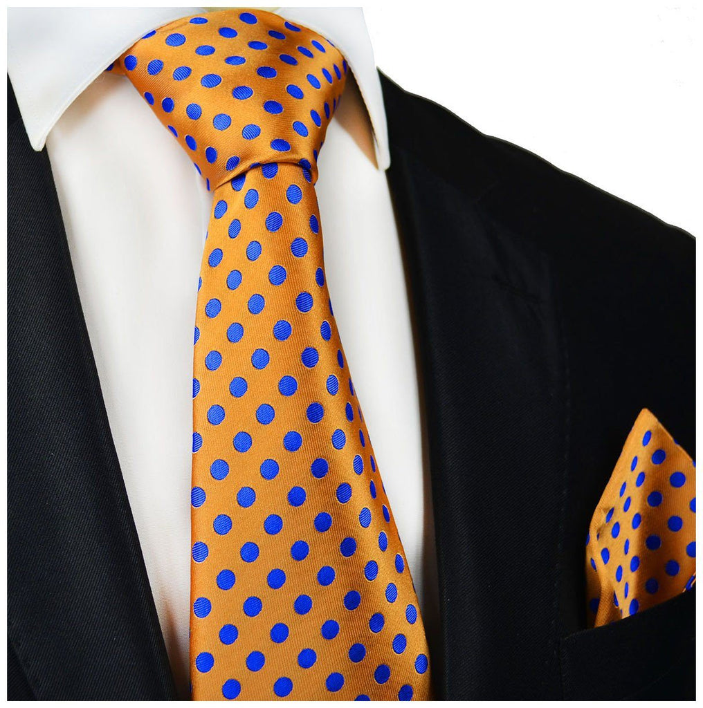 Orange and Blue Polka Dot Silk Tie and Pocket Square Paul Malone Ties - Paul Malone.com