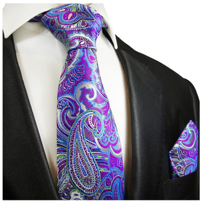 Purple and Blue Paisley Silk Tie and Pocket Square Paul Malone Ties - Paul Malone.com