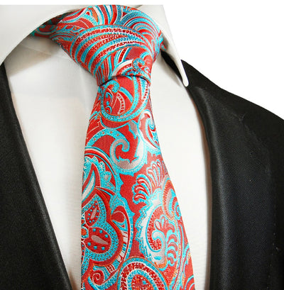 Red and Turquoise Paisley Silk Necktie Paul Malone Ties - Paul Malone.com