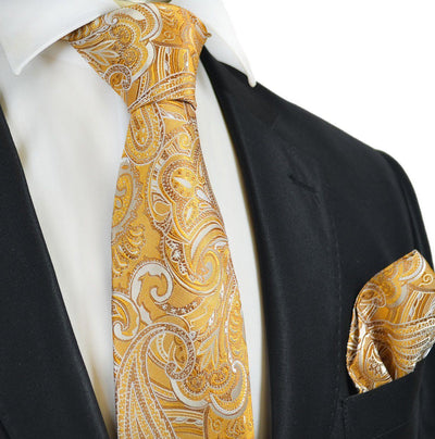 Summer Gold Paisley Silk Tie and Pocket Square Paul Malone Ties - Paul Malone.com
