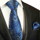 Blue and Yellow Paisley Silk Tie and Pocket Square Ties Paul Malone