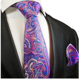 Blue and Pink Paisley Silk Tie and Pocket Square Paul Malone Ties - Paul Malone.com