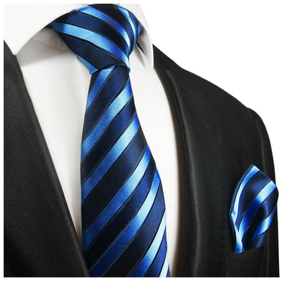 Blue and Navy Striped Silk Tie and Pocket Square Paul Malone Ties - Paul Malone.com