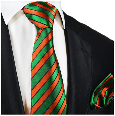 Green and Orange Striped Silk Tie and Pocket Square Paul Malone Ties - Paul Malone.com