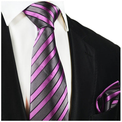 Gray and Purple Striped Silk Tie and Pocket Square Paul Malone Ties - Paul Malone.com
