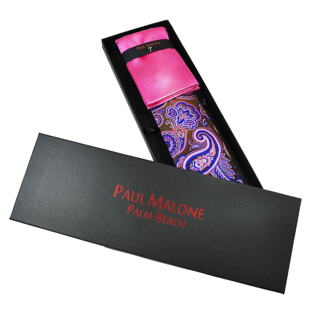 Brown and Hot Pink 7-fold Silk Tie and Pocket Square Paul Malone Ties - Paul Malone.com