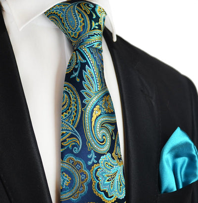 Aqua Blue Paisley 7-fold Silk Tie and Pocket Square Paul Malone Ties - Paul Malone.com