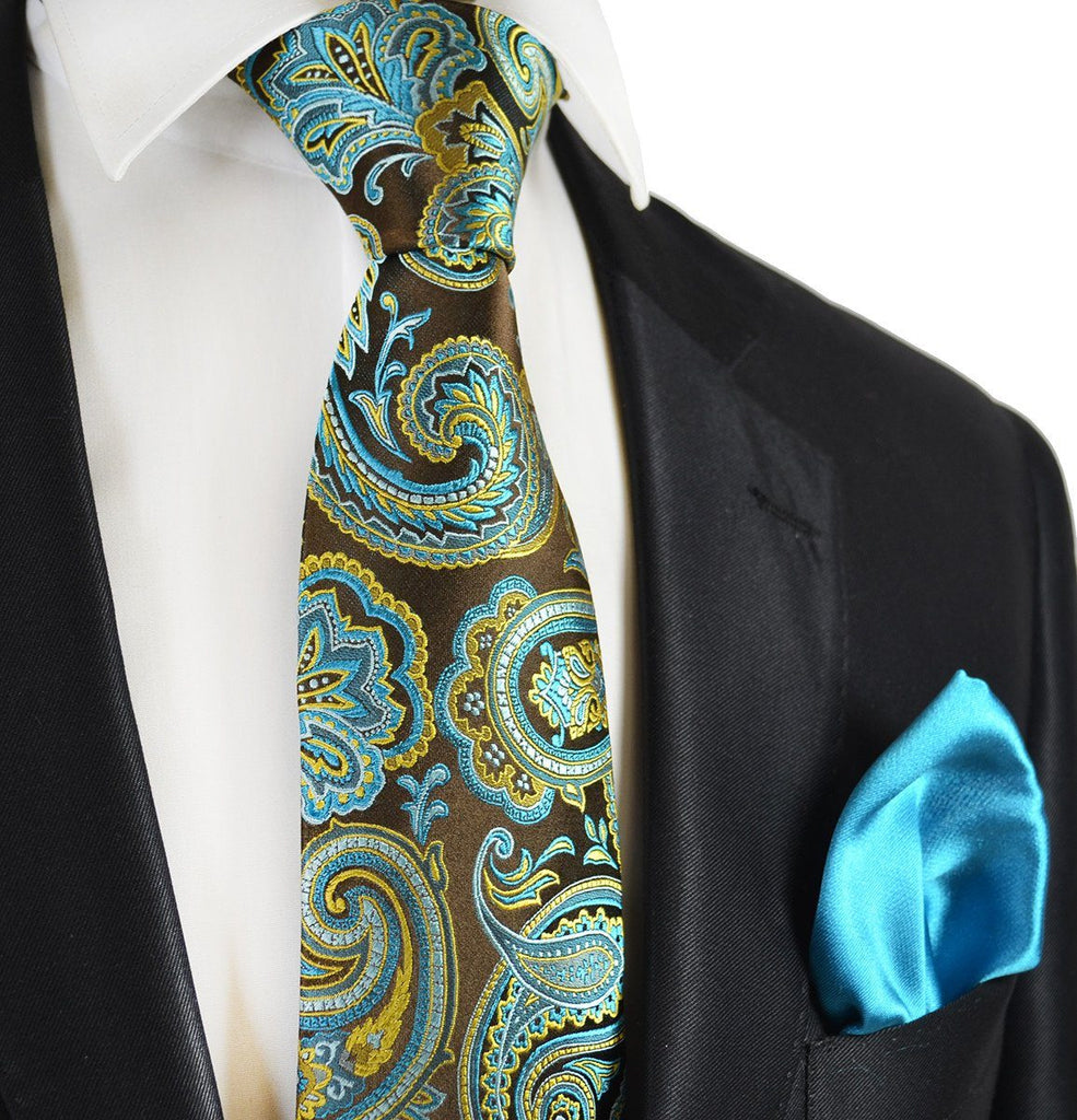 Brown and turquoise paisley 7 fold silk tie set