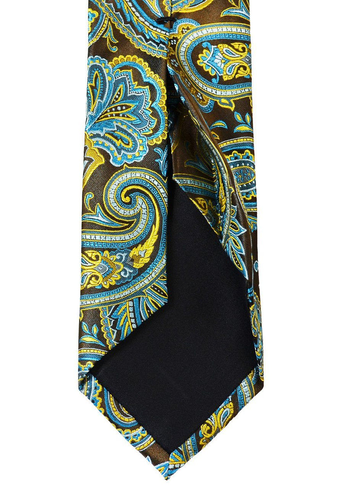 Brown and Turquoise Paisley 7-fold Silk Tie Set Paul Malone Ties - Paul Malone.com
