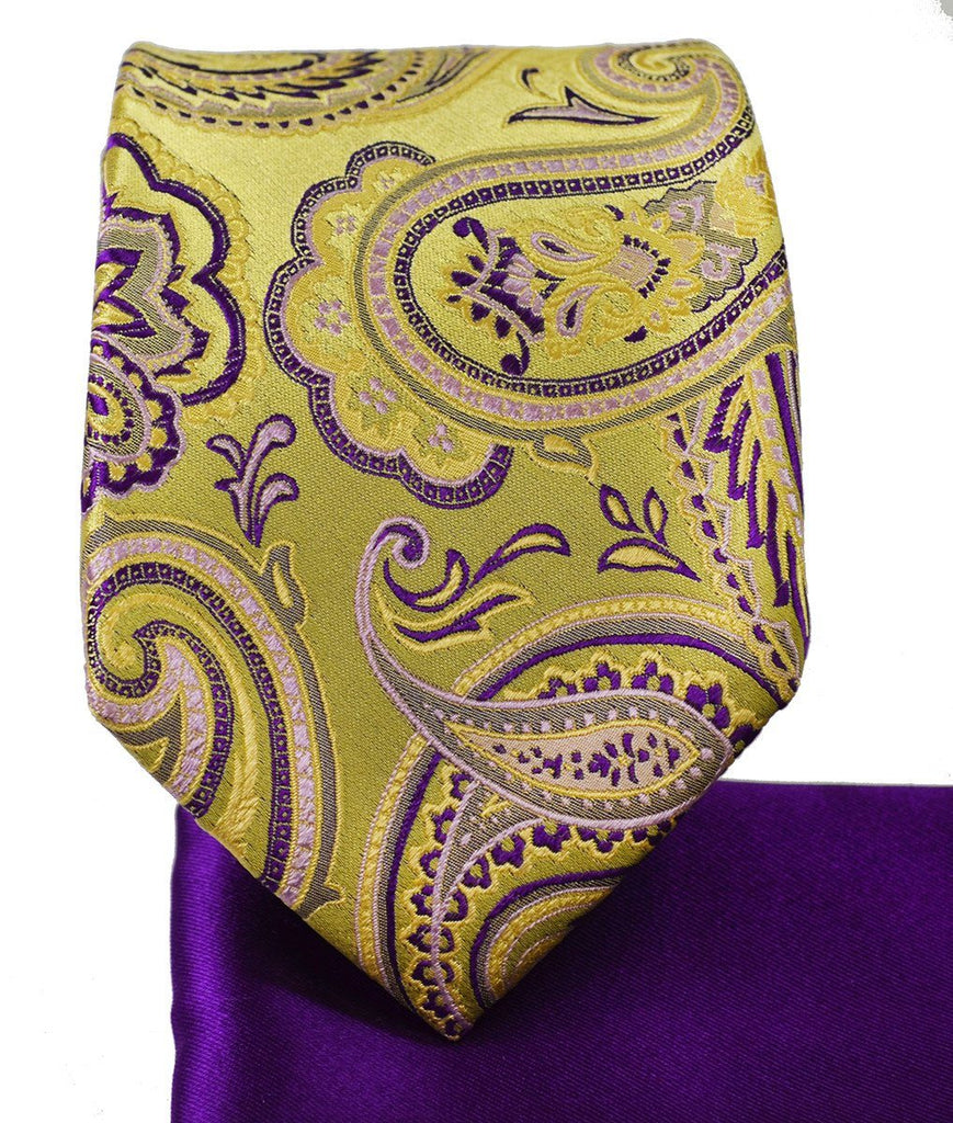 Gold and Purple Paisley 7-fold Silk Tie Set Paul Malone Ties - Paul Malone.com