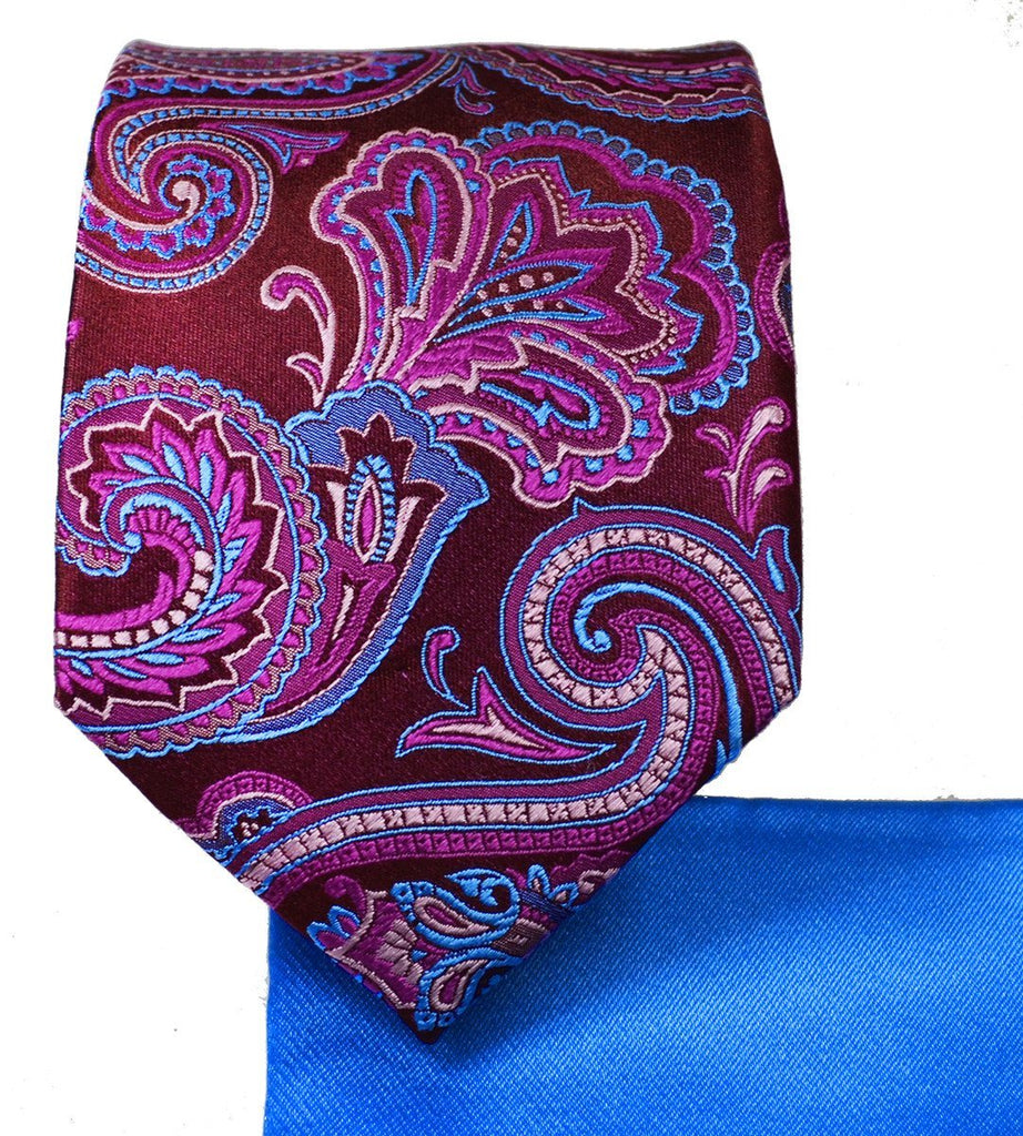 Burgundy And Pink Paisley 7-fold Silk Tie Set