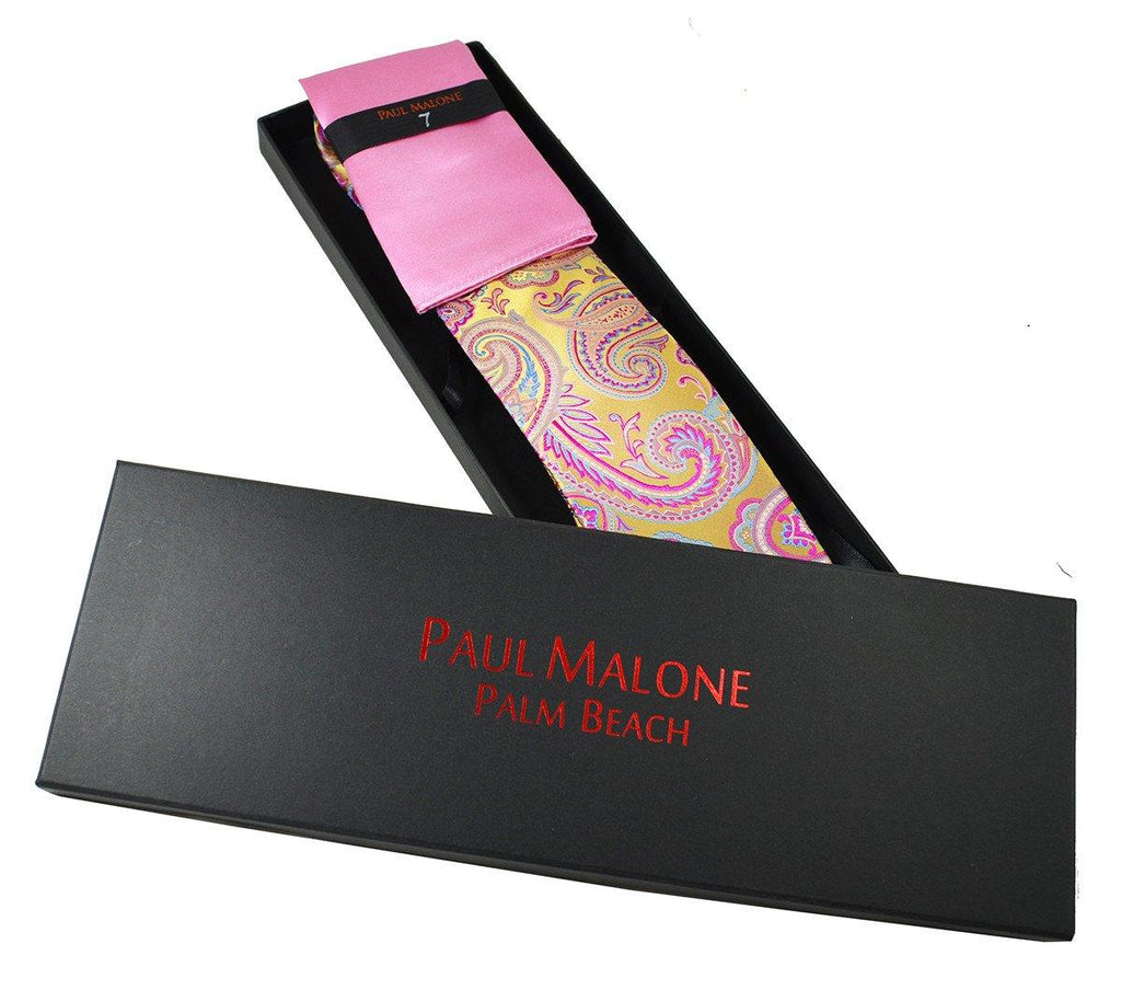 Gold and Pink Paisley 7-fold Silk Tie Set Paul Malone Ties - Paul Malone.com