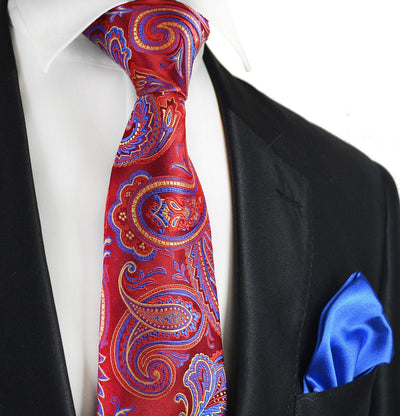 Red Paisley 7-fold Silk Tie and Pocket Square Paul Malone Ties - Paul Malone.com