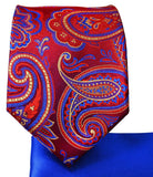 Red Paisley 7-fold Silk Tie and Pocket Square Ties Paul Malone
