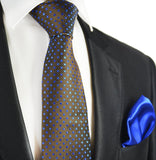 Brown and Blue 7-fold Silk Tie Set Paul Malone Ties - Paul Malone.com