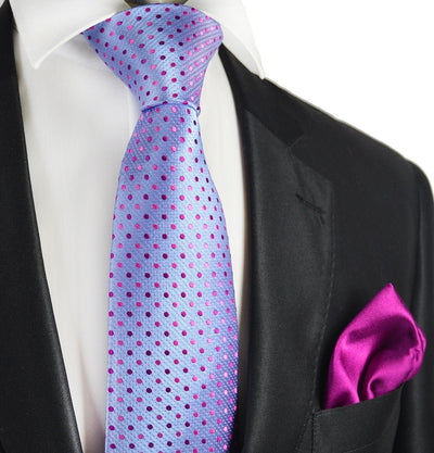 Light Blue and Pink 7-fold Silk Tie Set Paul Malone Ties - Paul Malone.com