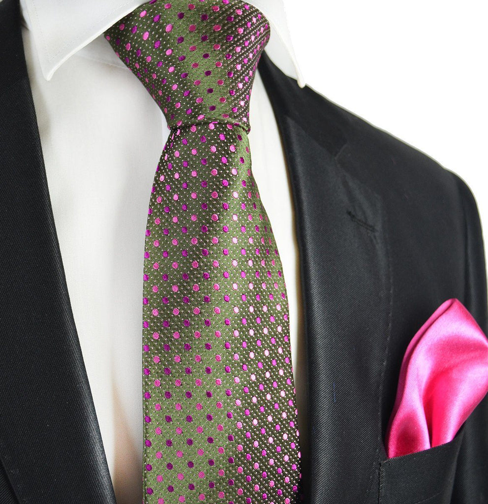 brown and pink 7 fold silk tie set