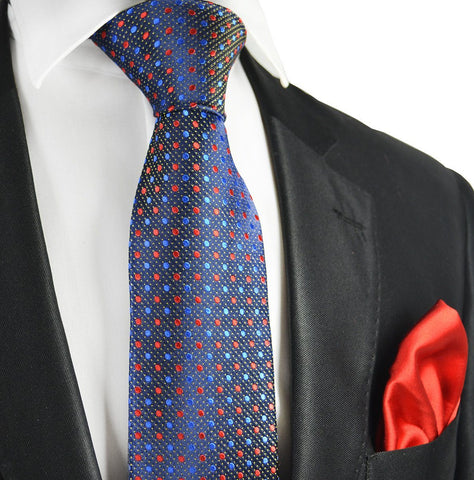 Red and Lime Green 7-fold Silk Tie Set