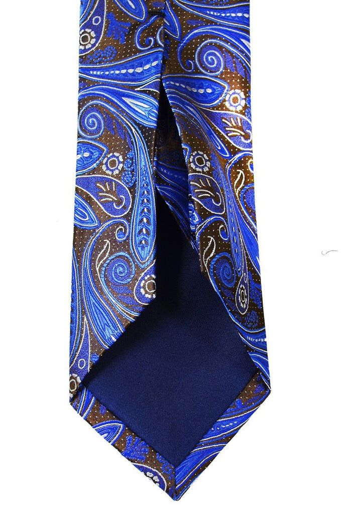 Royal Blue and Brown Paisley 7-fold Silk Tie Set Ties Paul Malone