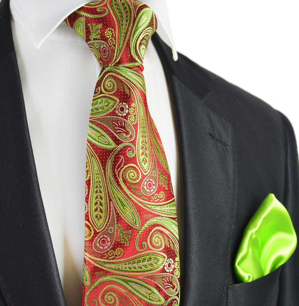 Red and Lime Green 7-fold Silk Tie Set Paul Malone Ties - Paul Malone.com