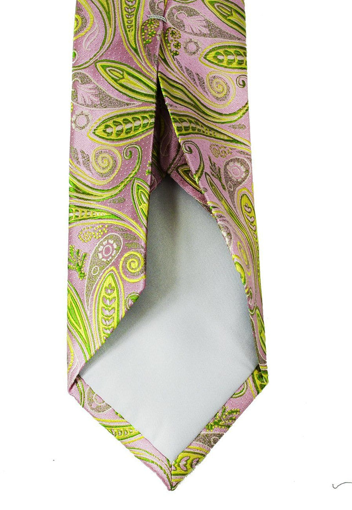 Mellow Rose and Lime Green 7-fold Silk Tie Set Paul Malone Ties - Paul Malone.com