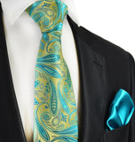Summer Green Paisley 7-fold Silk Tie and Pocket Square Set Paul Malone Ties - Paul Malone.com