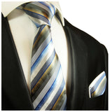 Blue and Tan Striped Silk Tie and Pocket Square Paul Malone Ties - Paul Malone.com